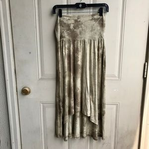 Olive tie-dye jersey fabric maxi skirt size large
